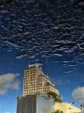 Building & Blue Sky Fade to Asphalt